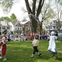 Maypole dancing.The Green